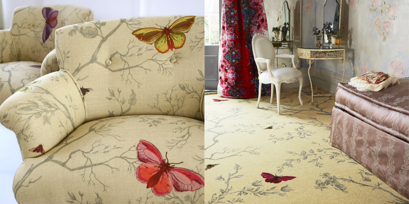 Timorous Beasties Ruskin Butterfly - Comparing Carpet To Upholstery Fabric